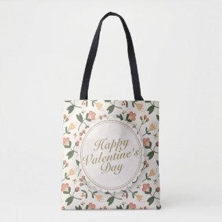 Elegant Happy Valentine's Day Floral Tote Bag