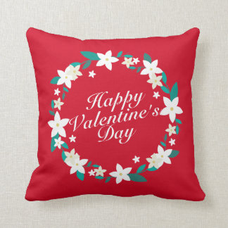 Elegant Happy Valentine's Day Floral Wreath Pillow