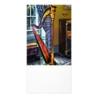 Elegant Harp Personalized Photo Card