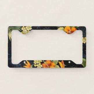 Elegant Hawaiian Orange Hibiscus Flower Pattern License Plate Frame