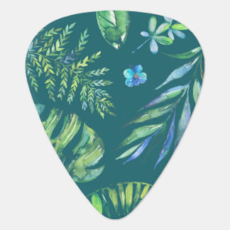 Elegant Hawaiian Watercolor Floral Guitar Pick