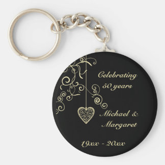 Elegant Heart Golden Wedding Anniversary Memento Basic Round Button Keychain