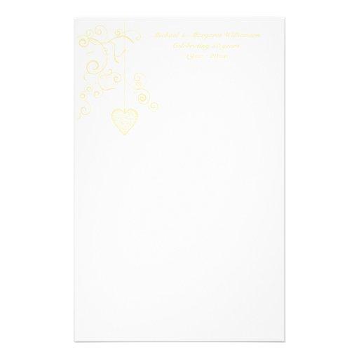 Elegant Heart Golden Wedding Anniversary Personalized Stationery