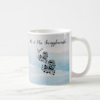 Elegant Hearts In Black And Blue Background Coffee Mug