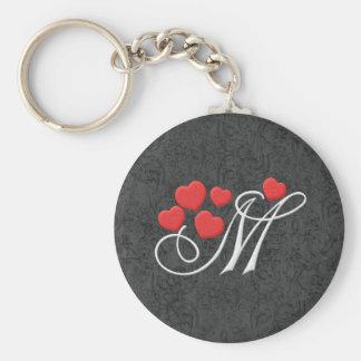 Elegant hearts letter M Basic Round Button Keychain