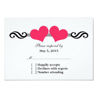 Elegant Hearts Wedding Response Card, Pink Personalized Announcement