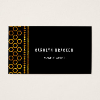 Elegant Hexagon Gold Glitter Black Business Card
