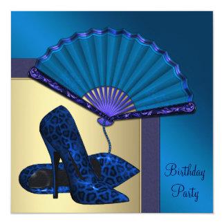 Elegant High Heel Royal Blue Gold Birthday Party Card