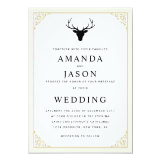 Elegant hipster deer head wedding invitation