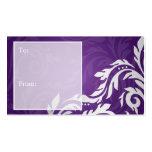 Elegant Holiday Gift Tag Swirly Flourish Purple Business Card