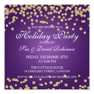 Elegant Holiday Party Gold Glitter Confetti Purple Card