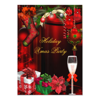 """Elegant Holiday Party Green Gold Champagne 4.5"""" X 6.25"""" Invitation Card"""