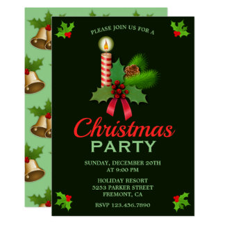 Elegant Holly and Candle | Christmas Party Invite