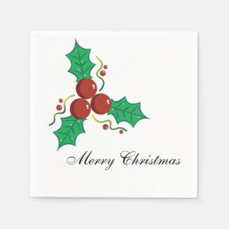 Elegant Holly Berries Merry Christmas Paper Napkins