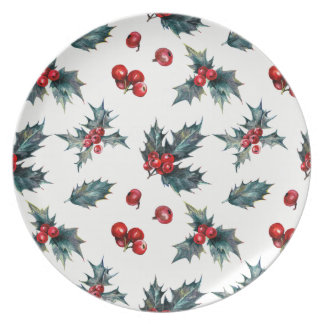 Elegant Holly Berry Holiday Winter Wedding Dinner Plate