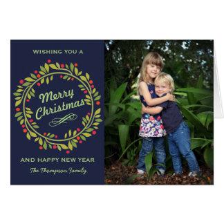 Elegant Holly Christmas Wreath | Cute Photo Card