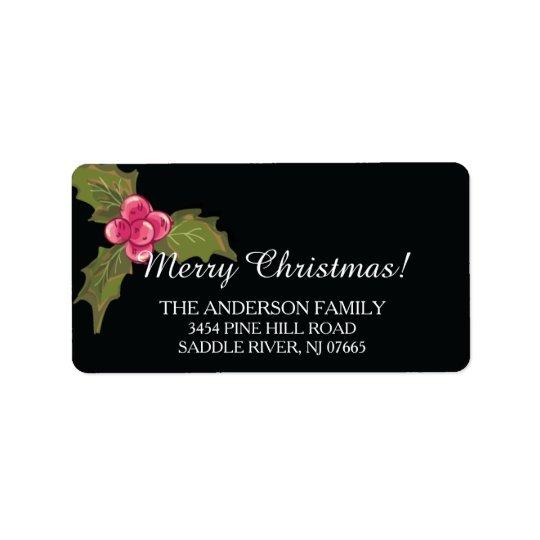 Elegant Holly Evergreen Christmas Return Address Label