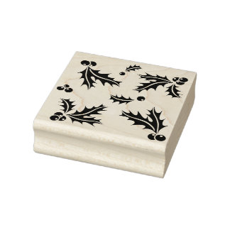 Elegant Holly Leaf Pattern Rubber Stamp