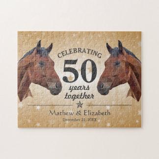 Elegant Horse Custom Gold 50th Wedding Anniversary Puzzle