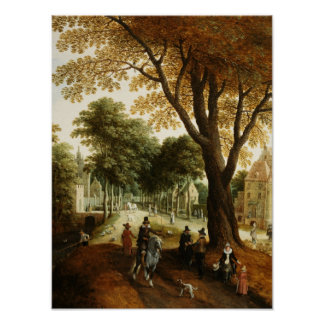 Elegant Horsemen and figures on a path Poster