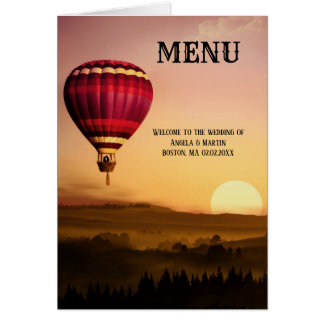 Elegant Hot Air Balloon Sunset Wedding Menu Card