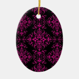 Elegant Hot Pink and Black Victorian Style Damask Ceramic Oval Ornament