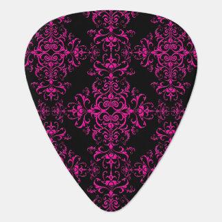 Elegant Hot Pink and Black Victorian Style Damask Pick