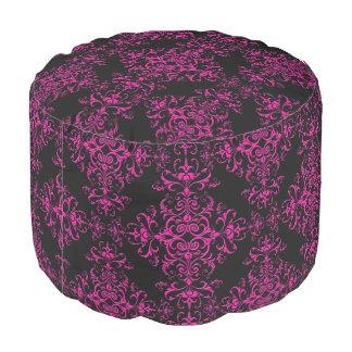 Elegant Hot Pink and Black Victorian Style Damask Pouf