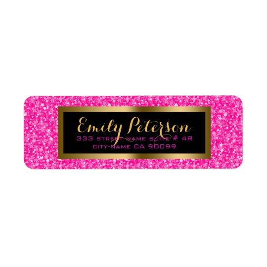 Elegant Hot Pink And White Glitter Return Address Label
