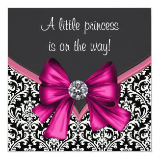 """Elegant Hot Pink Black Damask Princess Baby Shower 5.25"""" Square Invitation Card"""