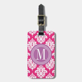 Elegant Hot Pink Damask Personalized Luggage Tag