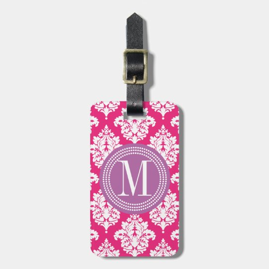 Elegant Hot Pink Damask Personalized Luggage Tag