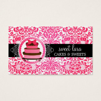 Elegant Hot Pink Damask Pink Cake Diamond Bakery Business Card