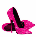 Elegant Hot Pink Glitter High Heel Shoes Acrylic Cut Outs