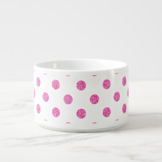 Elegant Hot Pink Glitter Polka Dots Pattern Bowl