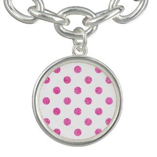 Elegant Hot Pink Glitter Polka Dots Pattern Bracelets