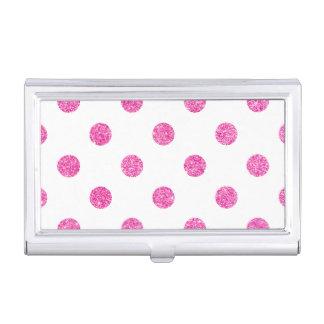 Elegant Hot Pink Glitter Polka Dots Pattern Business Card Holder