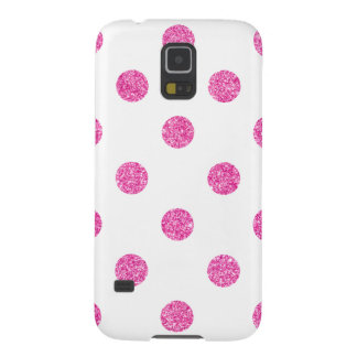 Elegant Hot Pink Glitter Polka Dots Pattern Cases For Galaxy S5