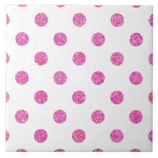 Elegant Hot Pink Glitter Polka Dots Pattern Ceramic Tiles