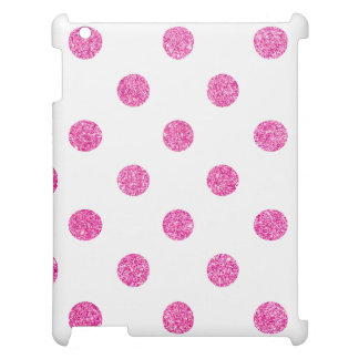 Elegant Hot Pink Glitter Polka Dots Pattern Cover For The iPad