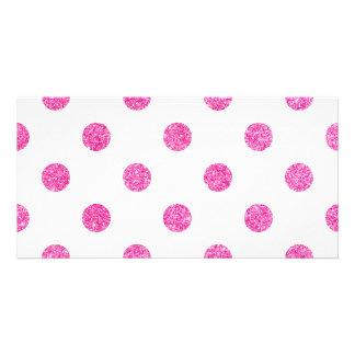 Elegant Hot Pink Glitter Polka Dots Pattern Customized Photo Card