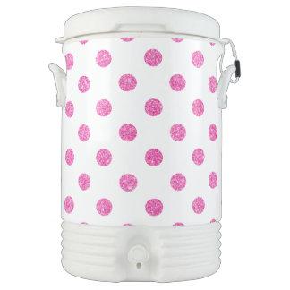 Elegant Hot Pink Glitter Polka Dots Pattern Drinks Cooler