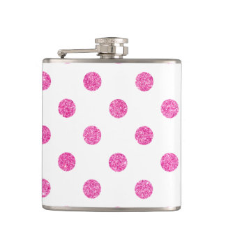 Elegant Hot Pink Glitter Polka Dots Pattern Flasks