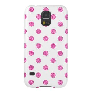 Elegant Hot Pink Glitter Polka Dots Pattern Galaxy S5 Cover