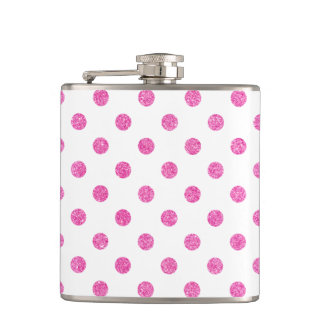 Elegant Hot Pink Glitter Polka Dots Pattern Hip Flask