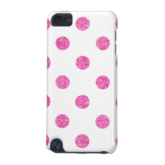 Elegant Hot Pink Glitter Polka Dots Pattern iPod Touch 5G Covers