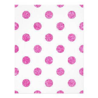 Elegant Hot Pink Glitter Polka Dots Pattern Letterhead