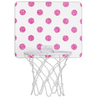 Elegant Hot Pink Glitter Polka Dots Pattern Mini Basketball Hoop