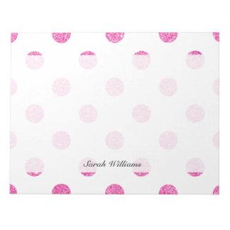 Elegant Hot Pink Glitter Polka Dots Pattern Notepad