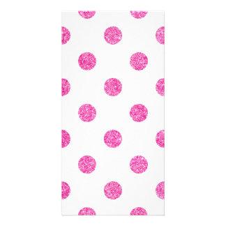 Elegant Hot Pink Glitter Polka Dots Pattern Photo Card Template